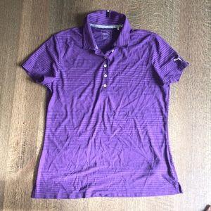NWOT purple puma athletic t-shirt button up collar